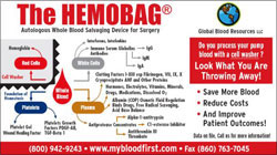 Flyer about the blood components that are wasted with conventional blood washers